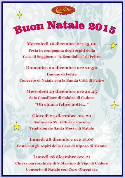 Natale 2015 appuntamenti Coro Oio